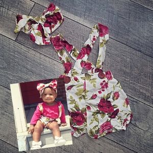 Other - 🌹floral overall shorts with matching bow
